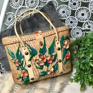 Woven wicker hand embroidered boho beach bag